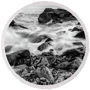 Waves Against A Rocky Shore In Bw Round Beach Towel