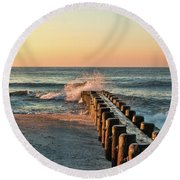 Waves Against The Groin - Holgate Round Beach Towel