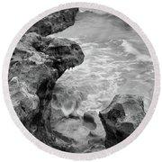 Waves And Coquina Rocks, Jupiter, Florida #39358-bw Round Beach Towel