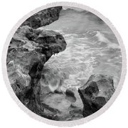 Waves And Coquina Rocks, Jupiter, Florida #39358-bw Round Beach Towel