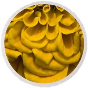 Waves And Curls In Yellow Round Beach Towel