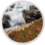 Waves And Rocks At Soberanes Point, California 30296 Round Beach Towel