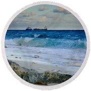 Waves And Tankers Round Beach Towel