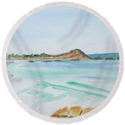 Waves Arriving Ashore In A Tasmanian East Coast Bay Round Beach Towel