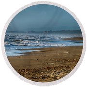Waves At Donoratico Beach - Spiaggia Di Donoratico Round Beach Towel
