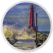 Waves At Muskegon South Breakwater Round Beach Towel