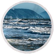 Waves At Populonia Promontory - Onde Al Promontorio  Round Beach Towel