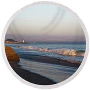 Waves At Santa Cruz Round Beach Towel