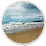 Round Beach Towel featuring the photograph Waves Clouds And Sand By Kaye Menner by Kaye Menner