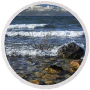 Waves Crashing Ashore At Northport Point On Lake Michigan Round Beach Towel