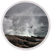 Waves Crashing  Round Beach Towel