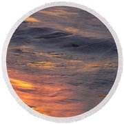 Waves Dawn Reflections Round Beach Towel