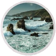 Waves Hitting The Rocks Round Beach Towel