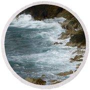 Waves Lashing Rocks Round Beach Towel