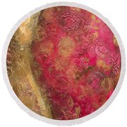 Waves Of Circles On Fuchsia Round Beach Towel
