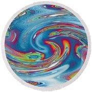 Waves Of Rainbow Round Beach Towel