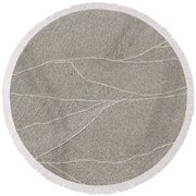 Waves Of Time And Time Again In The Sand Round Beach Towel