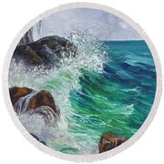 Round Beach Towel featuring the painting Waves On Maui by Darice Machel McGuire