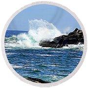 Waves  On Rocks Round Beach Towel