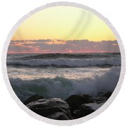 Waves Over The Rocks  5-3-15 Round Beach Towel