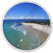 Waves Rolling In To North Point Beach On Moreton Island Round Beach Towel
