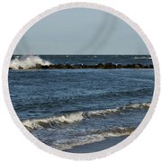 Round Beach Towel featuring the photograph Waves by Sandy Keeton