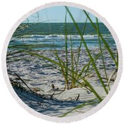 Waves Through The Grass Round Beach Towel