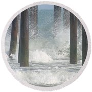 Waves Under The Pier Round Beach Towel