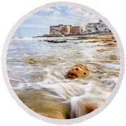 Waves Washing The Rocks Round Beach Towel