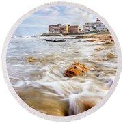 Waves Washing The Rocks Round Beach Towel