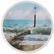 Waves With Beach Groin Round Beach Towel