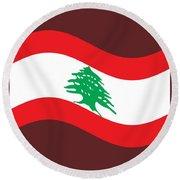 Waving Lebanon Flag Round Beach Towel