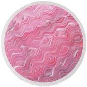 Wavy Pink Brush Strokes Abstract Art For Interior Decor Ix Round Beach Towel
