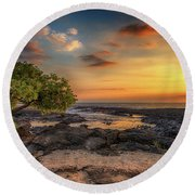 Wawaloli Beach Sunset Round Beach Towel