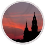 Wawel Castle And Cathedral Silhouette In Krakow Round Beach Towel