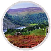 Round Beach Towel featuring the photograph Way Home. Wicklow. Ireland by Jenny Rainbow