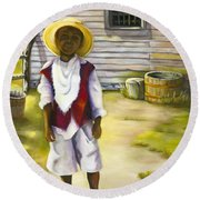 Round Beach Towel featuring the painting Way Out Of No Way by Marlene Book