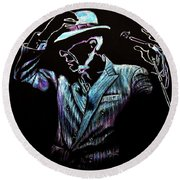 Round Beach Towel featuring the drawing way to be free...Leonard Cohen by Heidi Kriel
