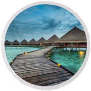 Round Beach Towel featuring the photograph Way To Luxury by Hannes Cmarits