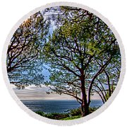 Wayfarer's  Ocean View Round Beach Towel by Joseph Hollingsworth