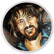 Waylon Jennings Round Beach Towel