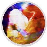 Wayne Shorter   Digital Watercolor Paintings Round Beach Towel