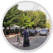 Round Beach Towel featuring the photograph Ways To Stop Traffic  by Connie Handscomb