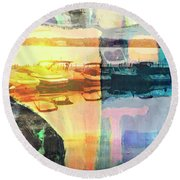 Wayzata Boats Abstract Round Beach Towel by Susan Stone