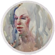 Round Beach Towel featuring the painting Wc Portrait 1617 by Becky Kim