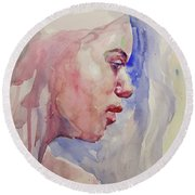 Round Beach Towel featuring the painting Wc Portrait 1618 by Becky Kim