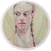Round Beach Towel featuring the painting Wc Portrait 1619 by Becky Kim