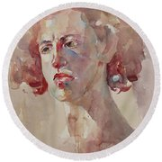 Round Beach Towel featuring the painting Wc Portrait 1621 by Becky Kim