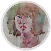 Round Beach Towel featuring the painting Self Portrait 1623 by Becky Kim