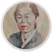 Round Beach Towel featuring the painting Wc Portrait 1625 My Mama by Becky Kim